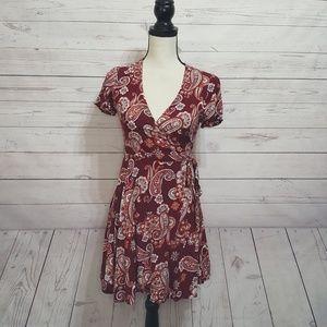 Forever 21 Paisley Print Wrap Waist Mini Dress